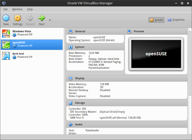 VirtualBox main window screenshot