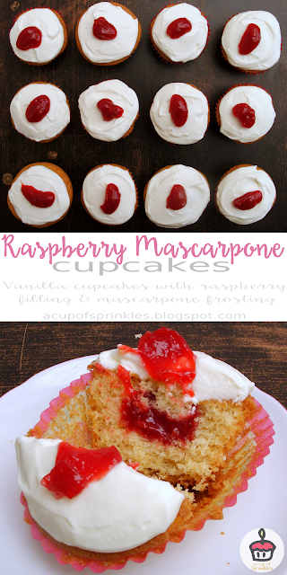 These vanilla cupcakes have a delicous raspberry filling and a light and fluffy mascarpone frosting.