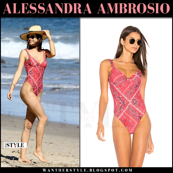 Alessandra Ambrosio in red paisley print swimsuit ale by alessandra what she wore beach may 30 2017