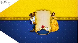 Para marcapáginas o etiqueta de Fiesta de La Bella y la Bestia.