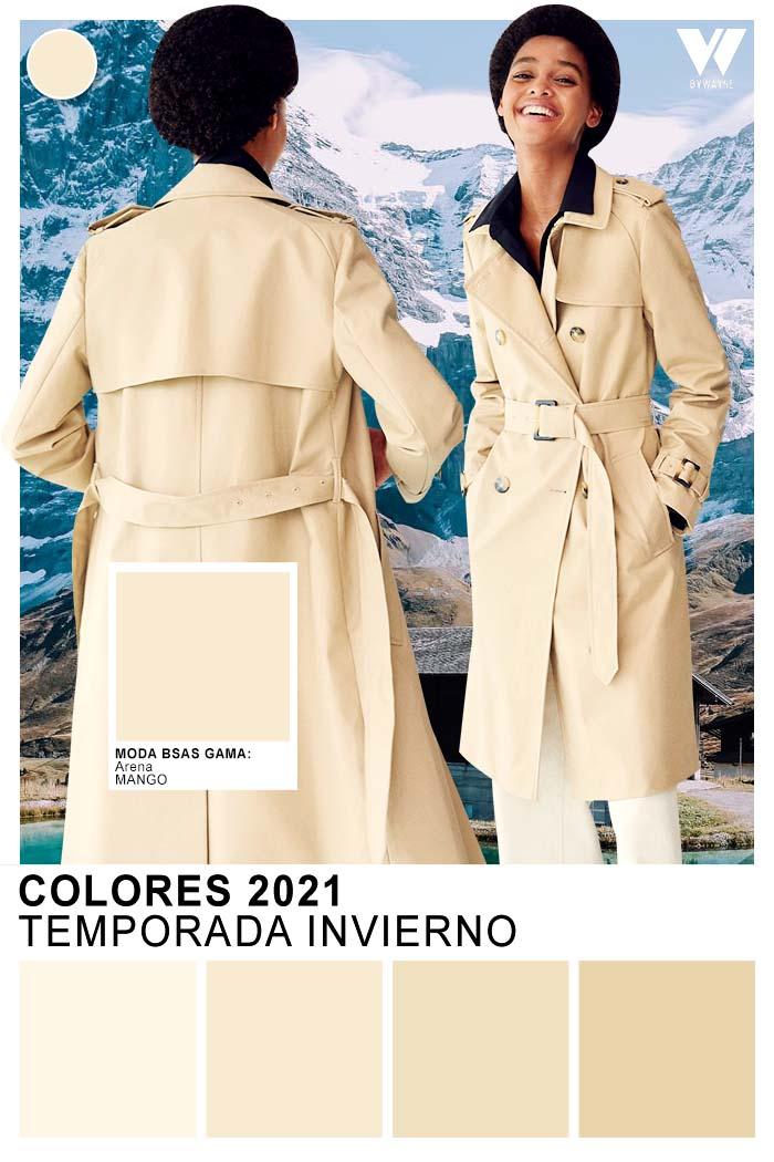 Paleta de colores otoño invierno 2021 tonos beige arena