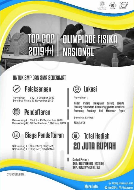 Olimpiade Fisika Nasional TOPCOP UGM 2019 SMP & SMA Sederajat