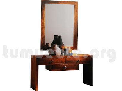consola 3 cajones con marco espejo en teca 4065+4127