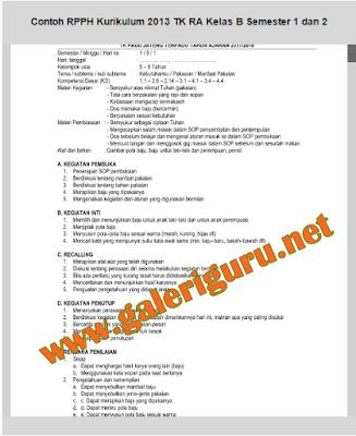 Download Contoh RPPH Kurikulum 2013 TK RA PAUD Kelas B Semester 1 dan 2 - Galeri Guru