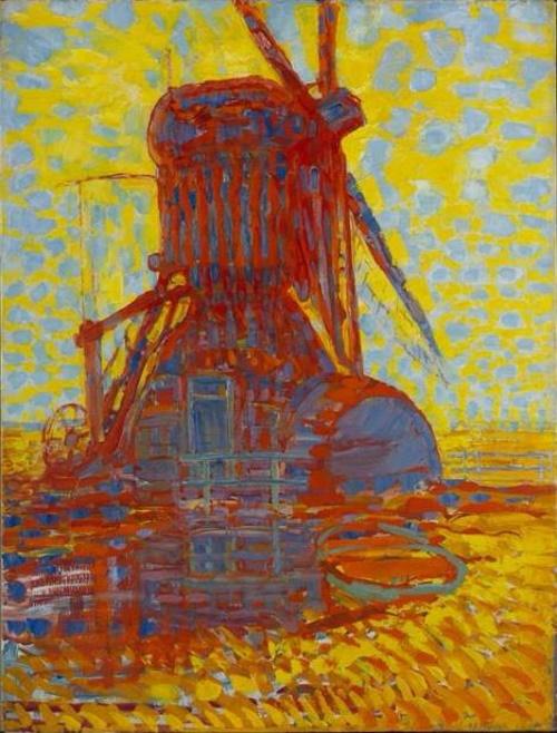 Moinho ao sol, pintura de Piet Mondrian.