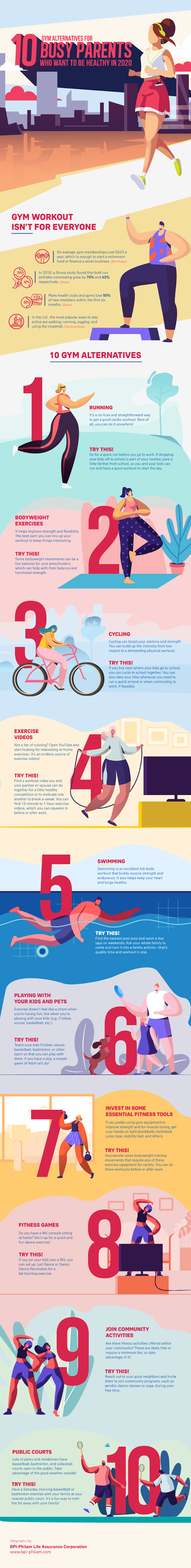 10 Gym Alternatives For Busy Parents Who Want To Be Fit/healthy In 2020 #infographic #infographic #Health & Fitness #Gym #Parents