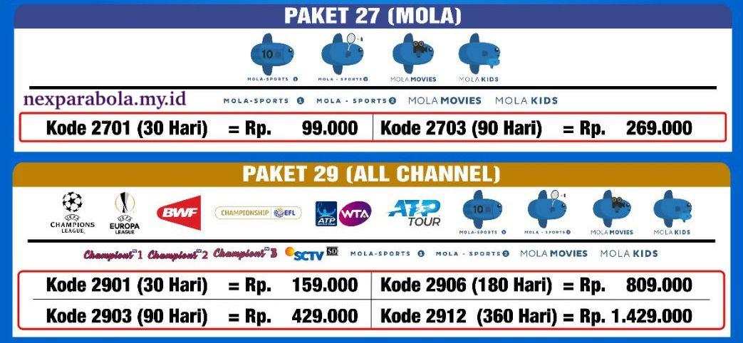 Harga Paket Liga Inggris Mola TV Nex Parabola
