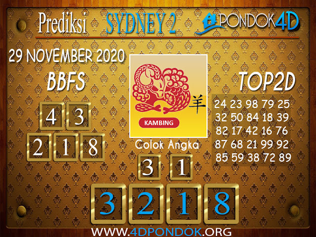 Prediksi Togel SYDNEY2 PONDOK4D 29 NOVEMBER 2020