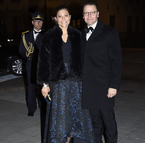 Crown Princess Victoria wore Alice + Olivia Floral Jacquard High-Low Skirt, By-Malina-Elsa-Coat, Marchesa-Lily Satin Clutch