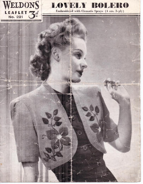 The Vintage Pattern Files: Free 1940s Knitting Pattern - Weldon's Lovely Bolero