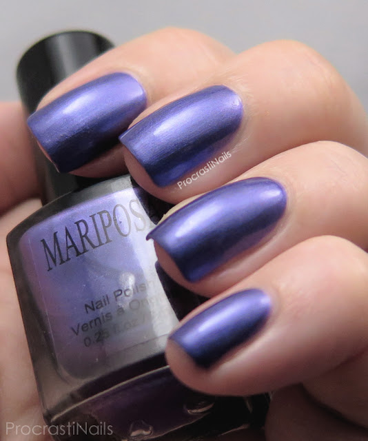 Swatch of Dollarama Mariposa Purple Shimmer Nail Polish