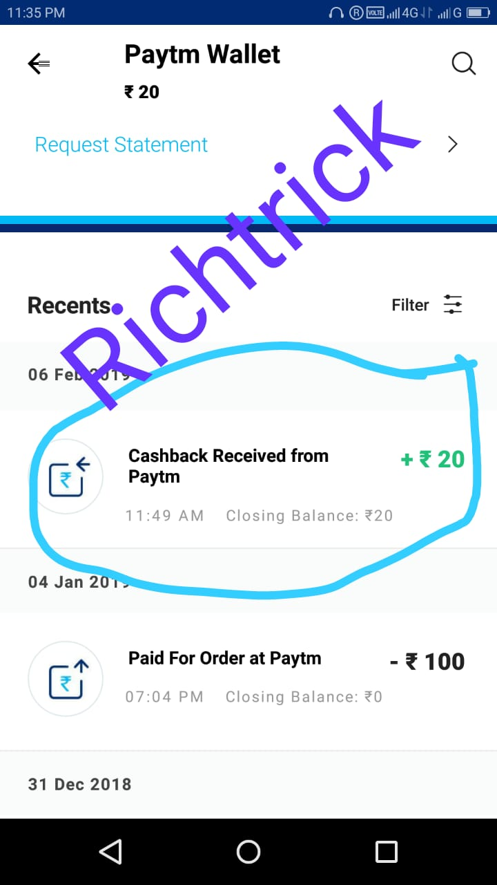 Get 100% paytm cashback upto 20Rs on mobile recharge of 20RS