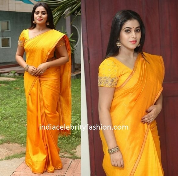 Poorna in Plain Yellow Saree