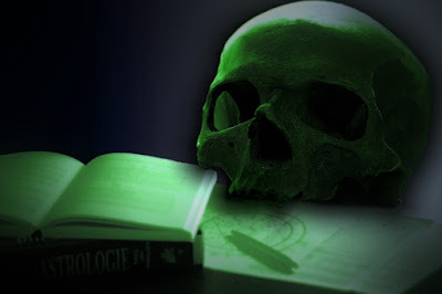 A skull sits on two open books.