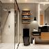 Banheiro moderno: cimento queimado e louças em preto