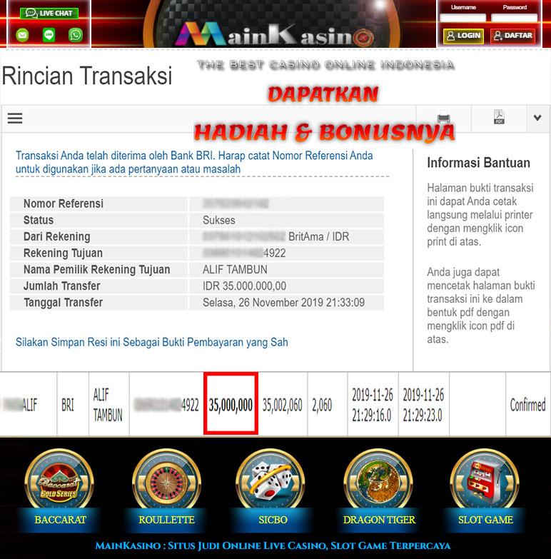Selamat Kepada Member Setia MAIN KASINO Withdraw RP 35.000.000