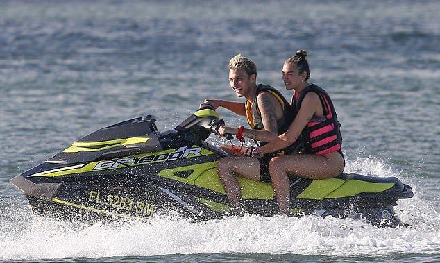 Dua Lipa in Black Swimsuit With Anwar Hadid During Enjoy Jet Ski Ride in Miami