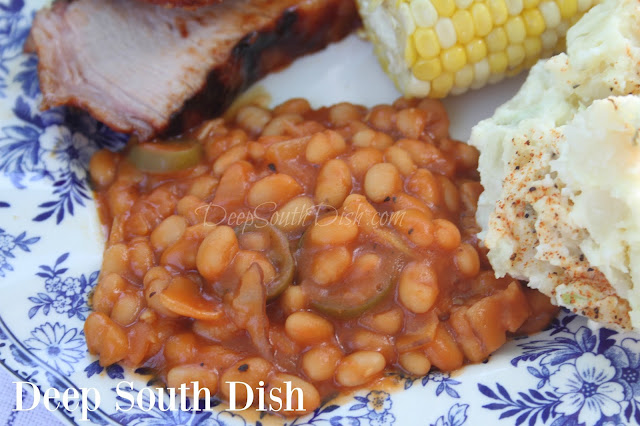 Stovetop Pork and Beans - An unbaked, baked bean recipe, made with navy beans, onions, jalapeno, bacon, brown sugar, and prepared on the stovetop.