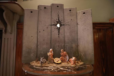 The nativity set at Walled off Hotel