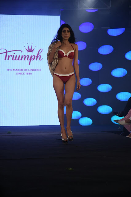 Stunning models walk the ramp for the Triumph fashion show at India Intimate Fashion Week 2017