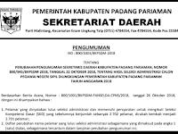 Revisi Pengumuman Lulus dan Jadwal serta Nama Peserta UJIAN CAT CPNS 2018 - Kabupaten Padang Pariaman, Download Disini !!!