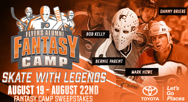 Hockey players can enter once for a chance to win a spot to play real NHL Hockey in the Philly Flyers Alumni Fantasy Camp from Toyota, worth $3000!