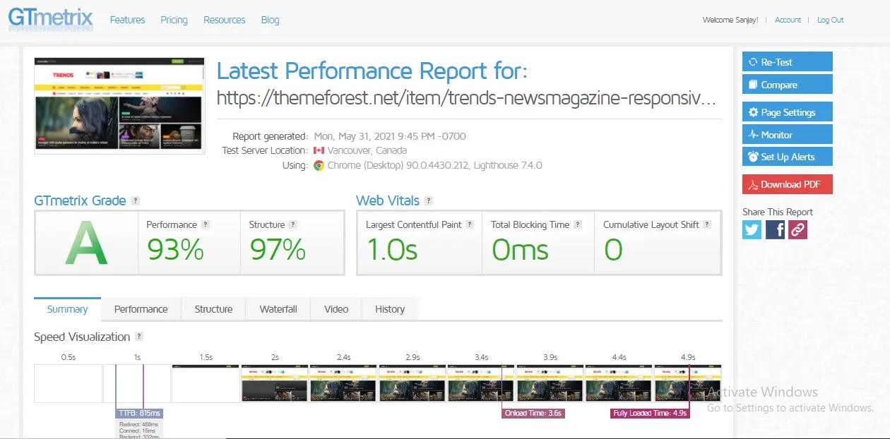 Trends Responsive Premium Blogger Template web-speed test