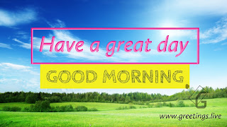 Good morning greetings on  blue sky green gross background