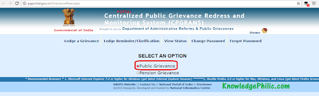 Home page for grievance for SSC CHSL 2015