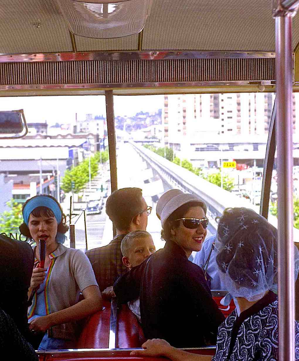 a color photograph of inside the monorail at the 1962 Seattle world's fair, starburst