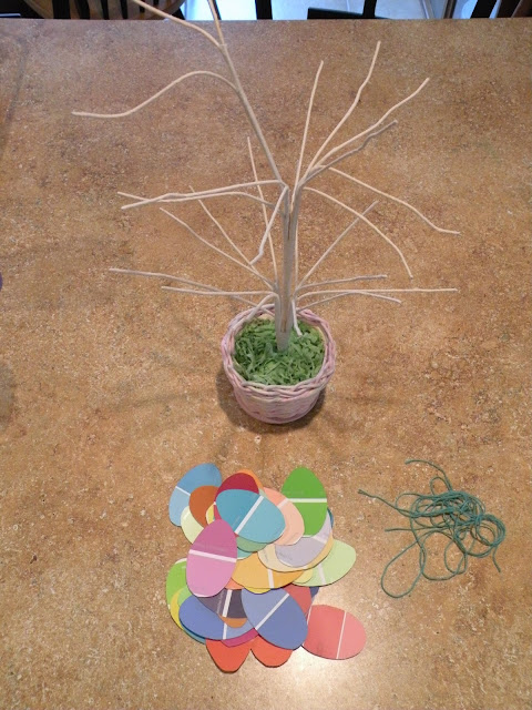 How to make an Easter Egg tree from paint chips
