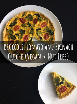Broccoli, Tomato and Spinach Quiche (Vegan + Nut Free)