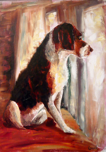 oil painting of a dog in the window, waiting for mum to come home