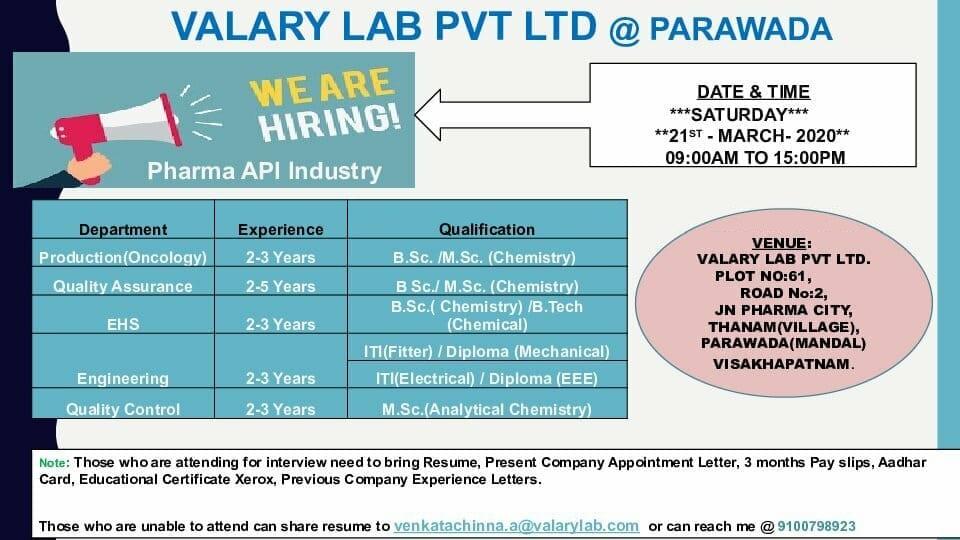 VALARY LAB PVT. LTD - Walk-Ins for Production   QA   QC   EHS   Engineering on 21st Mar' 2020