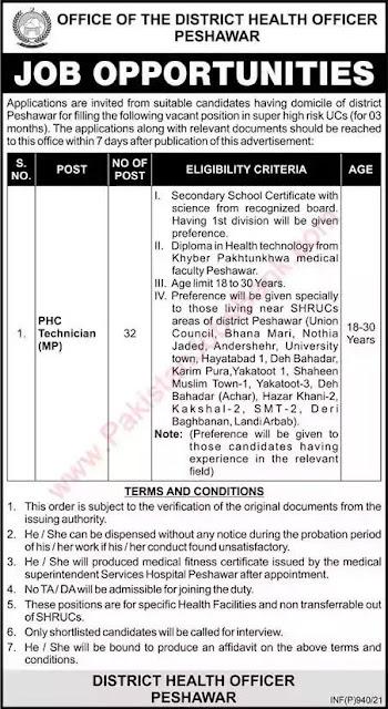 PHC Technician Jobs in KPK 2021 - District Health Officer Jobs in Peshawar 2021