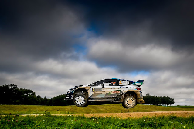 Ford Fiesta WRC over jump at Rally Estonia