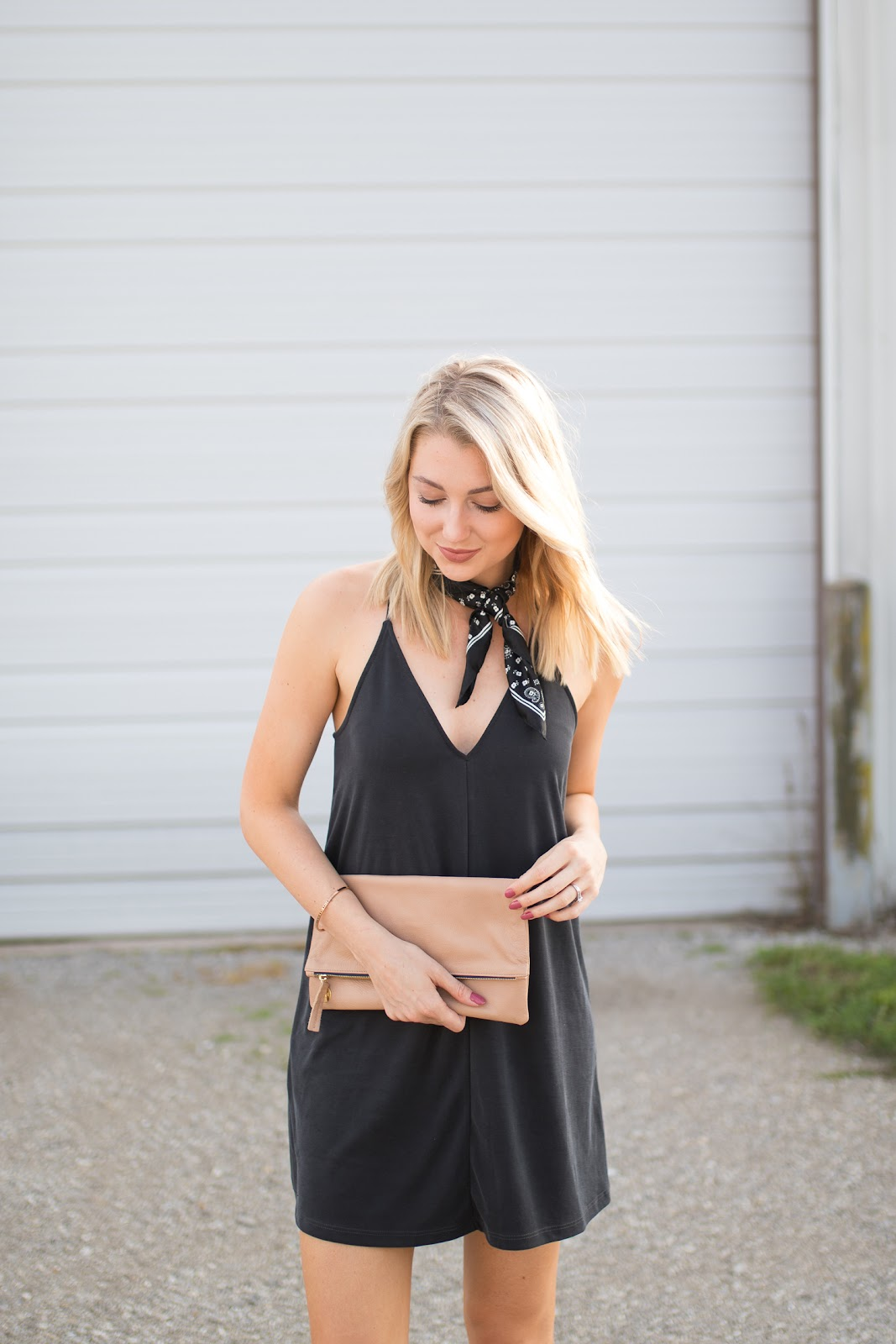 Simple black dress with a neck scarf