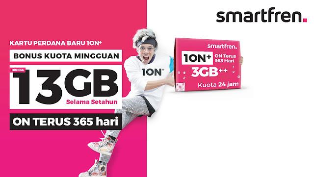 #Smartfren - #Promo Kartu Perdana Baru 10N+ Bonus Kuota Mingguan