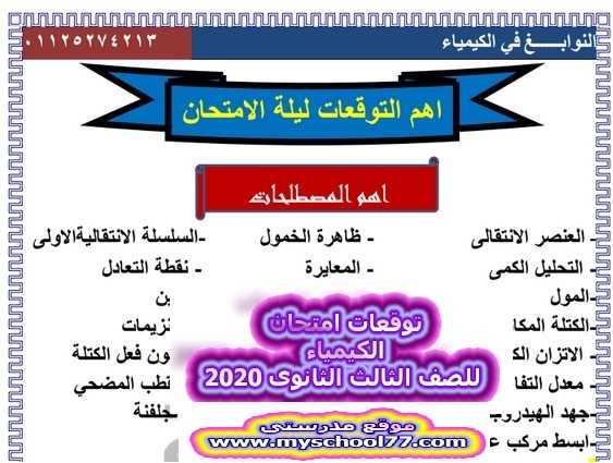 أهم التوقعات فى ليلة امتحان الكيمياء للثانوية العامة 2020 أ.أحمد المصرى