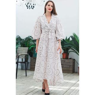 فستان طويل مشجر فساتين العيد
