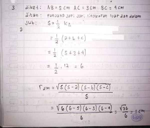 Jawaban matematika soal segitiga lingkaran