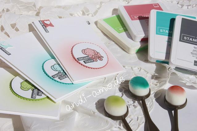 Babykarten gestalten mit Blending-Pinseln und Stempeltinte