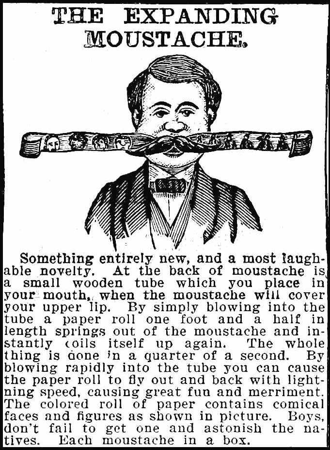 1890 expanding mustache novelty, from an illustrated catalog