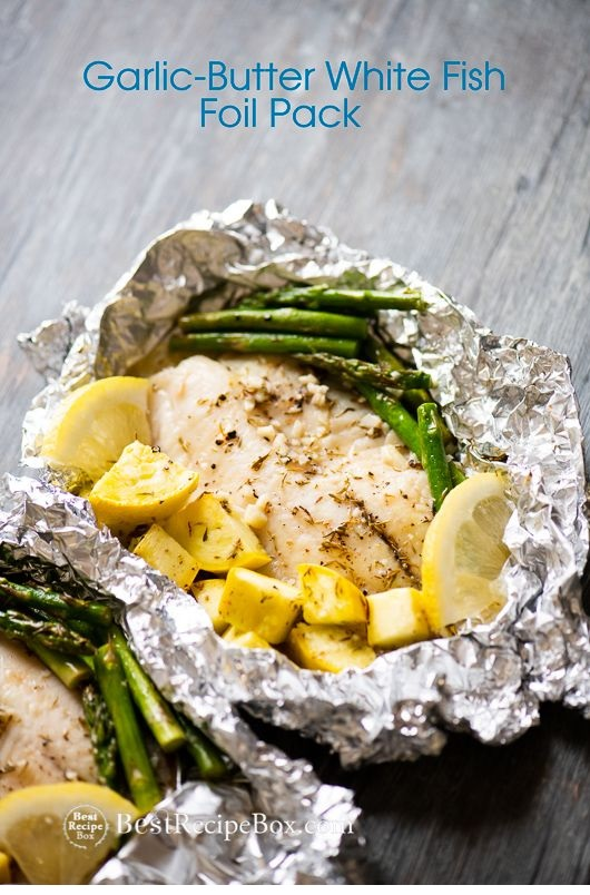15 minute Foil Baked Garlic Butter White Fish (Tilapia)
