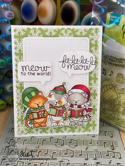 Meow to the World by Sue T. features Caroling Newton, Frames & Flags, and Music by Newton's Nook Designs; #newtonsnook, #christmas, #cardmaking