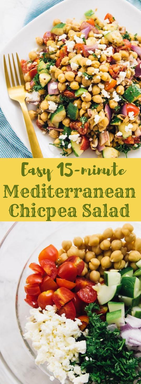 15-Minute Mediterranean Chickpea Salad #salad #healthy