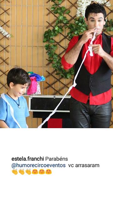 Comentario da cliente do Colegio Dom Bosco Americana sobre o show para o dia das crianças de Humor e Circo Eventos.