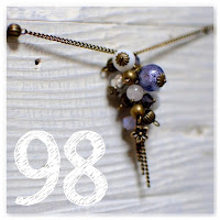sautoir grappe perles féerique bronze vieilli et violet