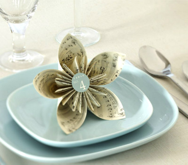kusudama book page flower placed on saucer on table