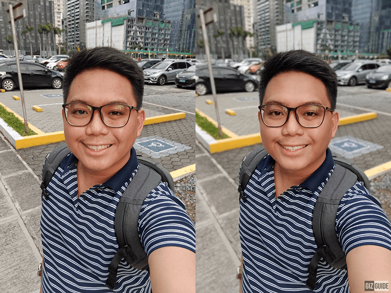 Normal selfie vs selfie with face beauty and background blur
